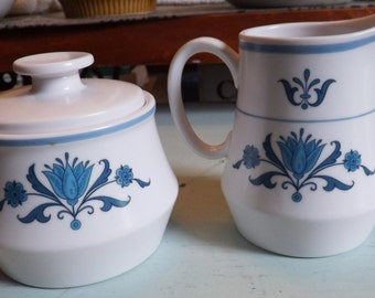 Mid-century (c.1960s) Noritake Blue Haven 9004 creamer and covered sugar bowl. Blue-&-white design. Noritake Progression line. Made in Japan