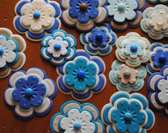 Handmade Paper Flower embellishment set, 25 flowers, Shades of Blue and Brown,