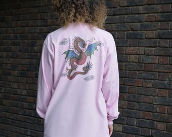 Chinese Dragon Design On Light Pink Long Sleeved T-shirt
