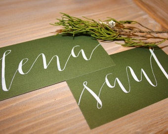 Simple, Handwritten Modern Calligraphy Place Cards for a Wedding, Party, or Event