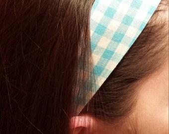Reversible fabric headband blue/white plaid and red/orange flowered