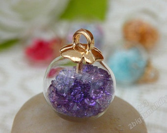 10pcs 18mm Clear glass ball with purple crystals pendant,Glass globe vials pendants,Clear glass orb pendant,