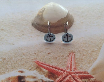 Nautical 12mm Glass dome printed Blue Anchor design Silver plated  Pierced Hooks Jewellery Beach Earrings