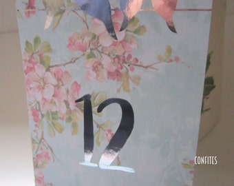 Wedding Table Number Cards - Love Birds - Silver or Gold print