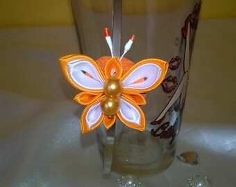 strap with butterfly done in the spirit kanzashi Satin