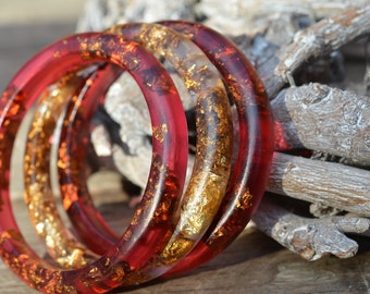 Resin bracelets with gold leaf,Set of three bangles,Wrist jewellery, Red and gold