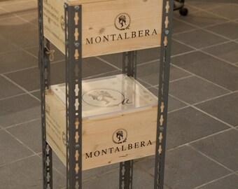 scaffale doppio multitasking / stile industriale /prodotto con scatole del vino plexiglass e ferro