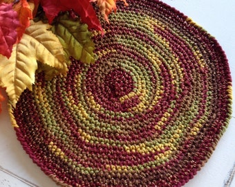 Round placemat, trivet, centerpiece ~ Autumn, fall, harvest, earth tones ~ Russet, orange, brown & gold, with a touch of gold sparkle