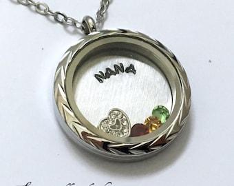 NANA - What do you call Grandma? - Nan Mama Nana Floating Charm Locket - Memory Locket - Custom Hand Stamped Gift