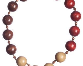 YSL Yves Saint Laurent Safari Wooden Bead Necklace
