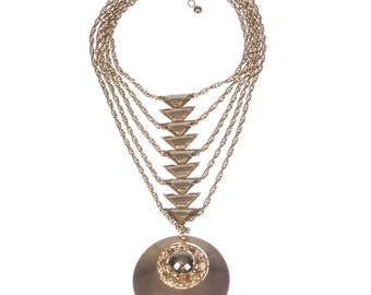 Massive Runway Disc Pendant Chain Necklace