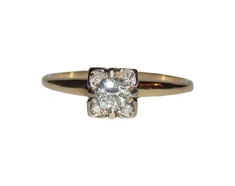Victorian 14 kt Gold Diamond Ring 1/3 cttw