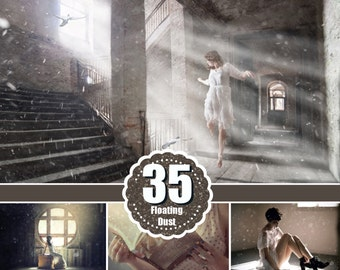 35 Floating Dust Photoshop Overlays, Sparkling Glitter, photo effect, magic pixie dust effect, Background Backdrops png