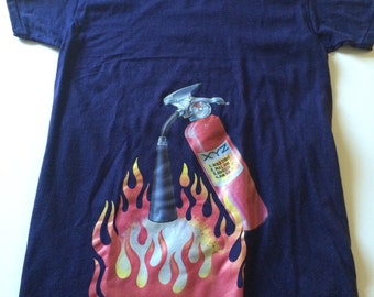Awesome Vintage 80s ROACH Iron On Fire Extiguisher T Shirt