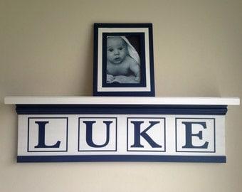 Personalized NurseryName Shelf/Child Name Shelf/Custom Kid Name Shelf/Baby Boy Nursery/Blue White Nursery Shelf/Nursery Wall Decor/Baby Gift