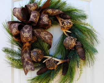 Winter wreath~farmhouse wreath~rustic wreath~farmhouse decor~fall wreath~front door wreath~rustic decor wreath~antler wreath