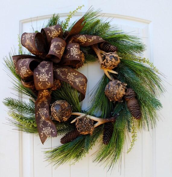 Rustic antler wreathchristmas wreathholiday wreathwreath for Antler christmas wreath
