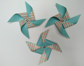 Set of 3 Surf Colection Paper Decorative Pinwheels.