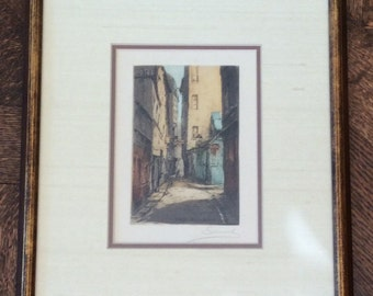 Signed Matted Framed Hand Colored Etching of a Paris Street Scene, Rue de Venis