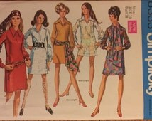 """VTG 8333 Simplicity (1969) dress in 2 length & scarf.  Very Mod! Size 16, Bust 38"""". Complete, unused, neatly cut. Excellent condition."""