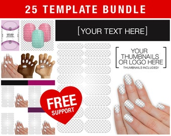 SALE! Bundle of 25 Templates! Nail Wrap NAS - Display Layout, Hand Mockup, Thumbnails, Sheet, and French Tip Templates - Jamberry Compatible