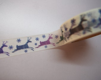 Cute Christmas Reindeer Japanese Washi Tape for Scrapbooking, Planning and Journalling!