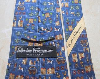 Vintage Salvatore Ferragamo Tie 100% Silk Made in Italy