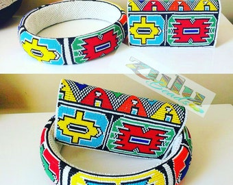 Ndebele beaded neckring and clutch purse