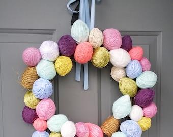 easter egg yarn wreath