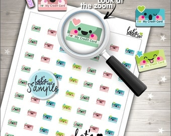 60%OFF - Credit Card Stickers, Printable Planner Stickers, Bill Payment, Bill Due, Payday, Money, Kawaii Stickers, Planner Accessories