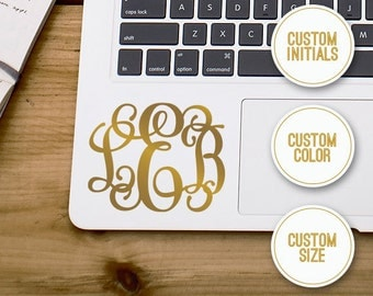 Gold Monogram Decal - Gold Monogram Sticker - Script Monogram - Personalized Initials Monogram - Phone Sticker, Laptop Decal, Planner Decal