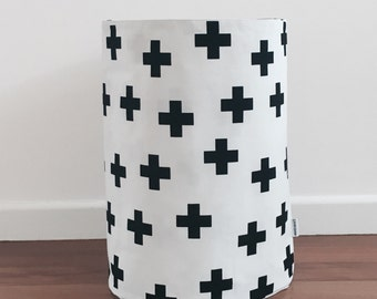 Monochrome black cross on white background fabric basket, laundry hamper, toy basket, fabric basket, storage basket, storage bin.