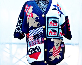 80's Patriotic Cardigan Sweater,American Teddy bears,Stars and Stripes,
