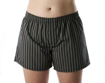 On SALE - Women's Boxer Shorts , Sleep Shorts - Black and Grey Stripes