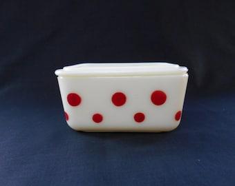 McKee Red Polka Dot Custard Glass Refrigerator Dish 1940's