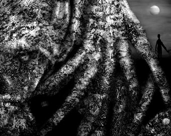 Hawaii Tree Alien Monster, Black And White Digital Texture Painting, Non Human Hand, Unique Science Fiction Gift, Alien Silhouette