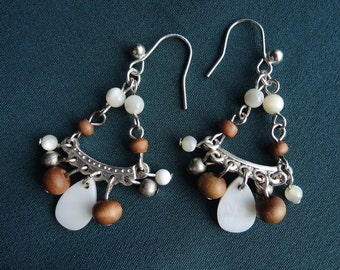 Wood and Glass Bead Chandelier Earrings