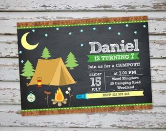 Camping Invitation, Camping Sleepover Party Invitation, Forest Invitation, Camping Birthday Invite DIGITAL FILE