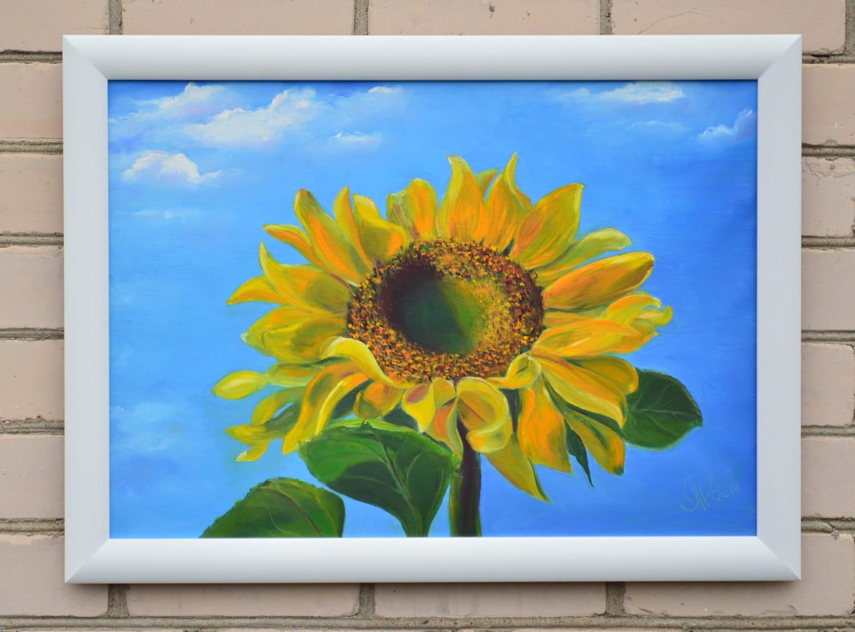 sunflower oil painting sunflower wall decor fine original. Black Bedroom Furniture Sets. Home Design Ideas