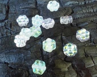 Czech Glass Flower Beads, Aurora Borealis Finish, 12 beads in this set