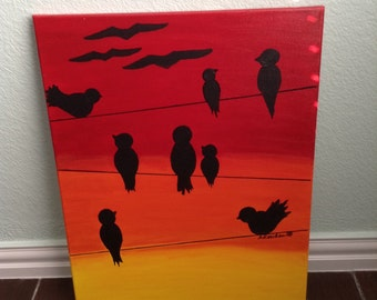 """Sunset Birds on a Wire, 16x20"""" canvas painting"""