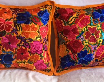 """ON SALE !! 1 PAIR of Embroidered pillow covers 19.5"""" X 19.5"""" (50 cm X 50cm)"""