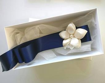 blue bridal Sash, Flower Sash, Bridal Flower Sash, flower sash, Wedding Dress Belt, bridal belt, vintage belt, wedding sash, vintage sash