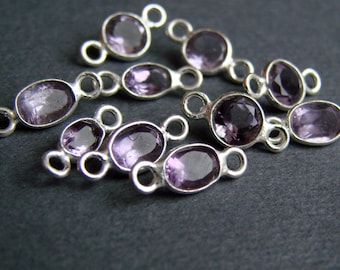 1 pcs ROUND Sterling Silver Amethyst bead separator