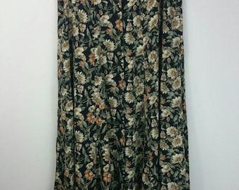 "Vintage 1990s Black + Brown Floral High Waisted Front Bottom Midi Skirt size L/XL (waist 30"")"