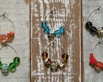 Wine Glass Charms, Glass Bead Wine Charms