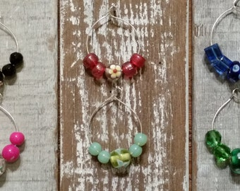 Wine Glass Charms, Colored Glass Bead Wine Glass Charms