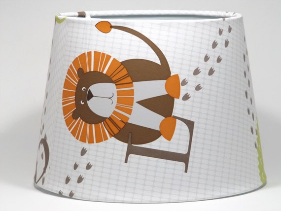 jungle animals lampshade or ceiling light shade lamp shade toddler. Black Bedroom Furniture Sets. Home Design Ideas