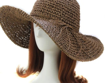 handmade coffee summer beach hat, sun hat, vacation hat. 100% paper straw