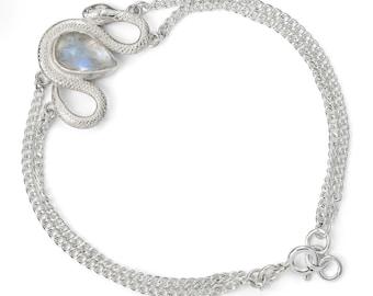 Sterling Silver Serpent & Moonstone Bracelet